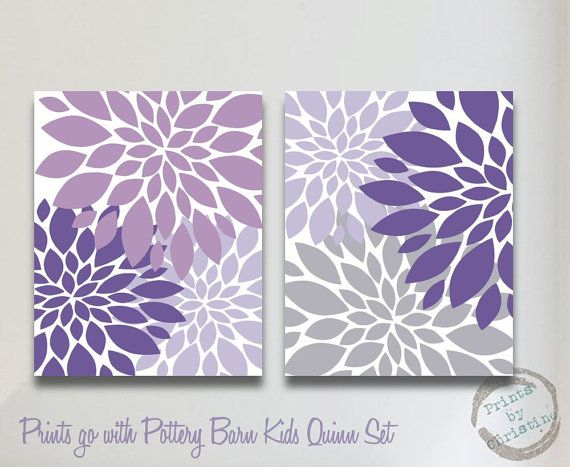 Nursery Art Matches Pottery Barn Kids Quinn Set Flower Print 2 Piece 8x10 11x14 Baby Room Decor Purple Lavender Gray via Etsy
