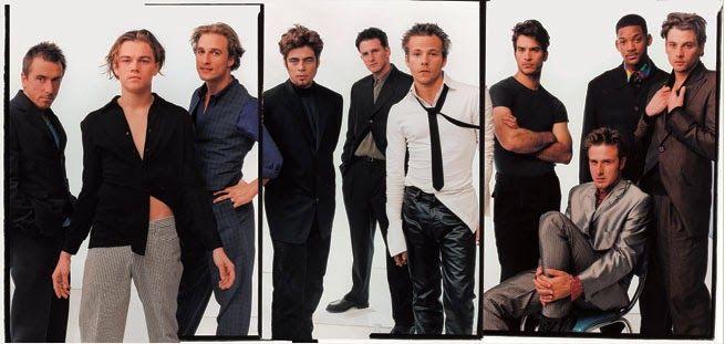 From left: Tim Roth, Leonardo DiCaprio, Matthew McConaughey, Benicio Del Toro, Michael Rapaport, Stephen Dorff, Jonathon Schaech, David Arquette, Will Smith and Skeet Ulrich, by Annie Leibovitz for Vanity Fair, 1996.
