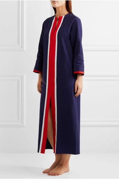 Sleepy Jones - Germaine Grosgrain-trimmed Cotton Kaftan - Navy - x large