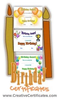 Free printable birthday certificates - generic and certificate for each age