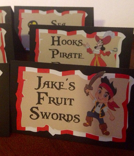 Jake and the Neverland Pirates food tent cards pirate buffet labels on Etsy $12.00 & 377 best Jake and the never land/Peter Pan party ideas images on ...