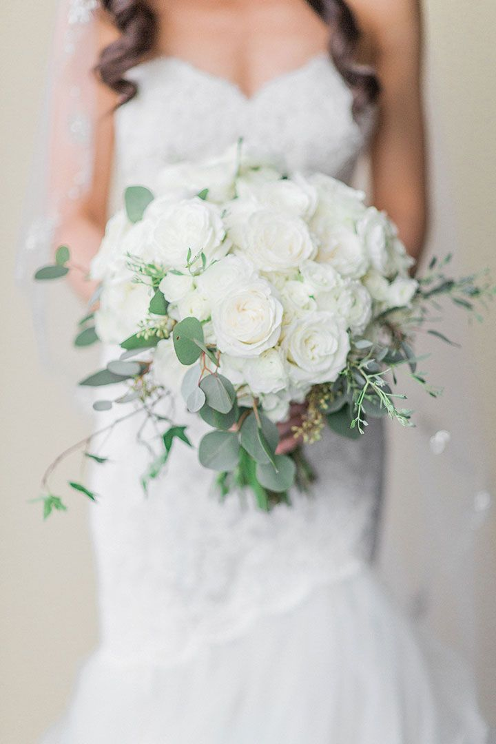 Glamorous Black & Gold New Year's Eve Wedding ~ all white bouquet with some greens