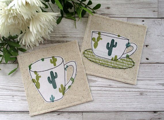 Cactus Coasters Fabric Coasters Cactus Decor Drinks