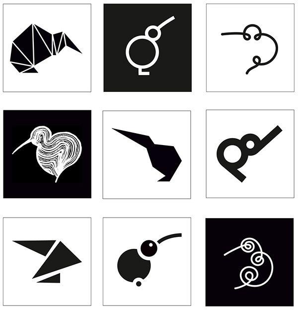 Kiwi bird graphic stylization