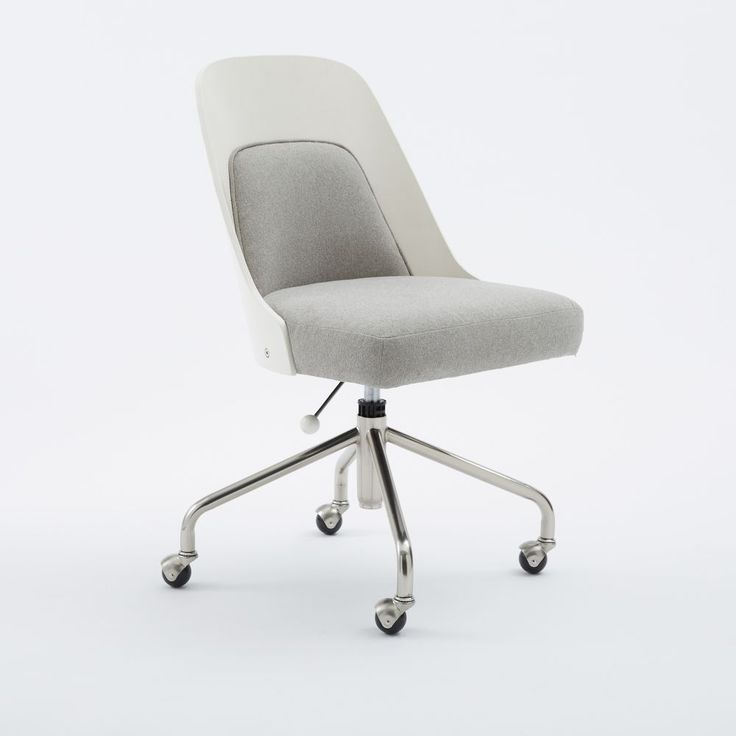 Bentwood Office Chair, White/Ash Gray Marled Microfiber