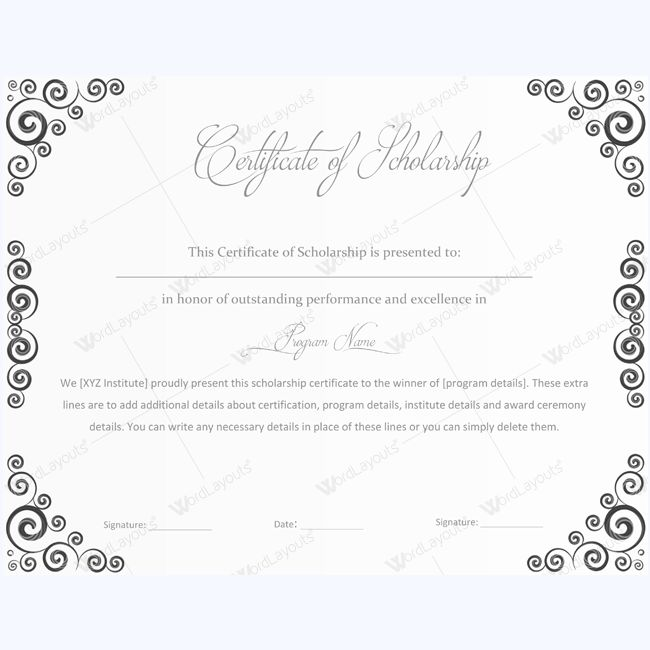 13 best Certificate of Scholarship templates images on Pinterest - editable certificate templates