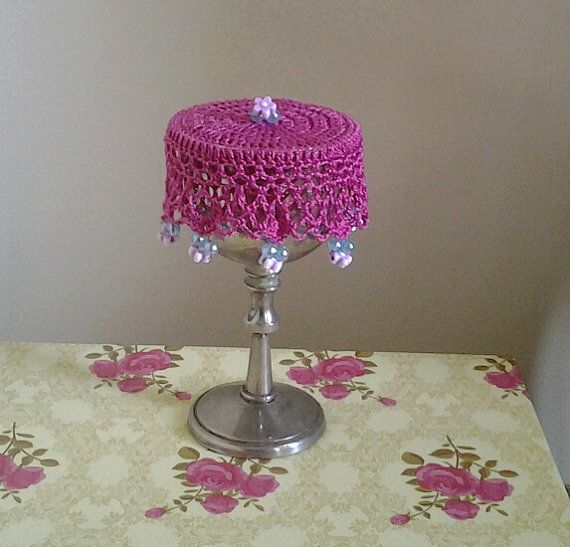 Hot Pink Crochet Wine Doily cup cover or can cosy by frillydaisy
