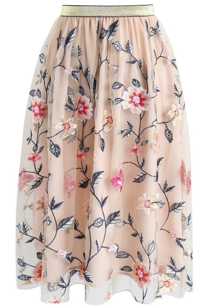 Ode to Blossom Embroidered Mesh Skirt- New Arrivals - Retro, Indie and Unique Fashion