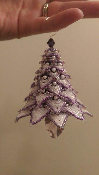 Beaded tree. Made by Kate P.  Pattern by Paula Adams.