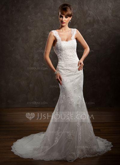 Sereia Coração Trem da capela Cetim Tule Vestido de noiva com Laço Bordado (002011449)