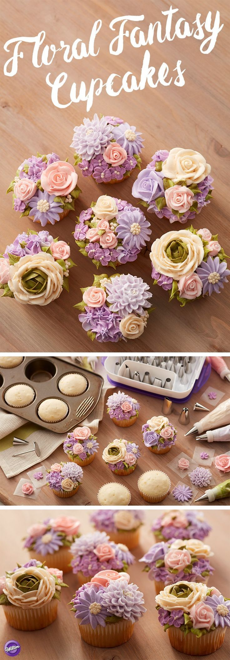 These amazing Floral Fantasy Mother's Day Cupcakes look like they're straight out of the garden! Blooming with stunning buttercream roses, daisies, mums and more, these Mother's Day treats are sure to make mom's day. Featuring soft pink, ivory and violet flowers, these Mother's Day cupcakes would also be great for a wedding shower or spring brunch. Use the Master Tip Set to create this lovely garden of pastel florals.