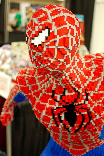 Lego Sculpture Spider-Man-Anyone who has ever built an over 1,000 piece lego set, like I have, has to appreciate the time it took to make this. Amazing