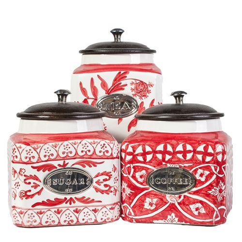 Beautiful hand-painted 3 piece coffee, tea & sugar set. http://definestyle.net.au/shop/kitchenware-3-piece-coffee-tea-sugar-set-large/