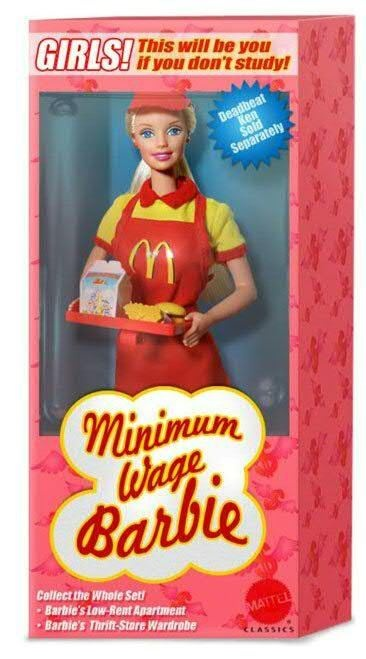 Haha: Deadbeat Ken, Minimum Wage, Wage Barbie, Funny Stuff, Funnies, Humor, Ken Sold