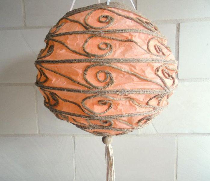 Orange Lampion aus Reispapier mit 10er LED Kette von silver-style auf DaWanda.com