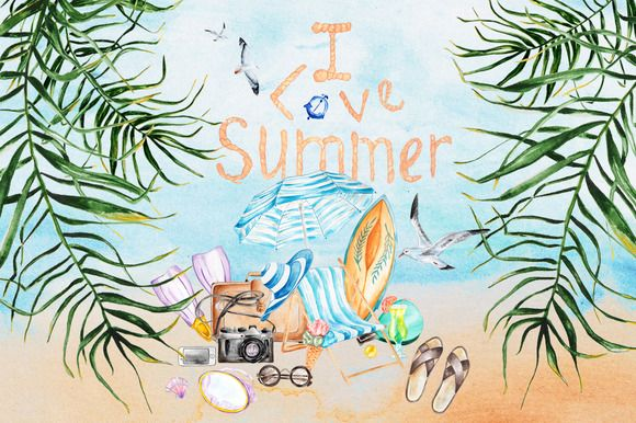 Summer set. by EkaterinaPlanina on @creativemarket