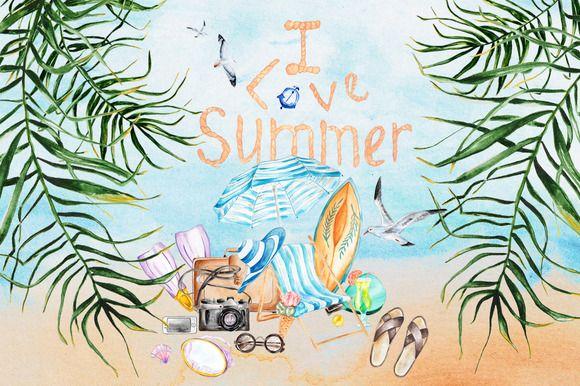 Summer set. by EkaterinaPlanina on @creativemarket