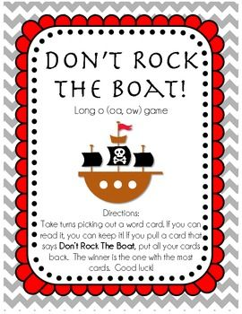 Don't Rock The Boat.  Long o: oa, ow.  FREE on TpT!