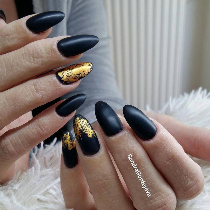 gel nails black nails gold decoration matt nails gel polish nails