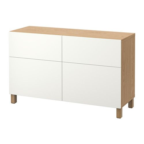 IKEA - BESTÅ, Storage combination w doors/drawers, oak effect/Lappviken white, drawer runner, soft-closing, , The drawers and doors close silently and softly, thanks to the integrated soft-closing function.The legs raise your BESTÅ combination from the floor, giving it a light airy look and making it easy to clean the floor underneath.The two drawers make it easy to keep your belongings organised. The shelves behind the doors give you even more storage space.