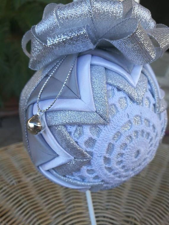 Quilted Christmas bauble crochet lace ornament folded fabric