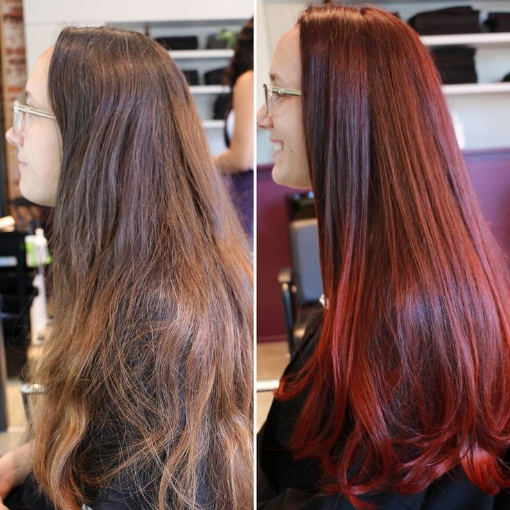 This Colortransformation On Nichole We Used Trieste Red 5nrm On Her Roots And Savona Scarlett 6rr On Her Red Hair Color Long Hair Styles Red Hair