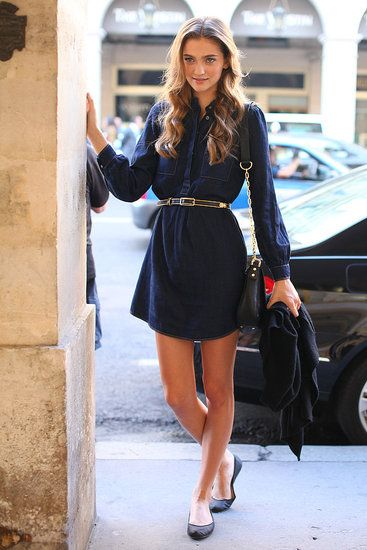 Paris Street Style: You can never go wrong with a sleek shirt dress.