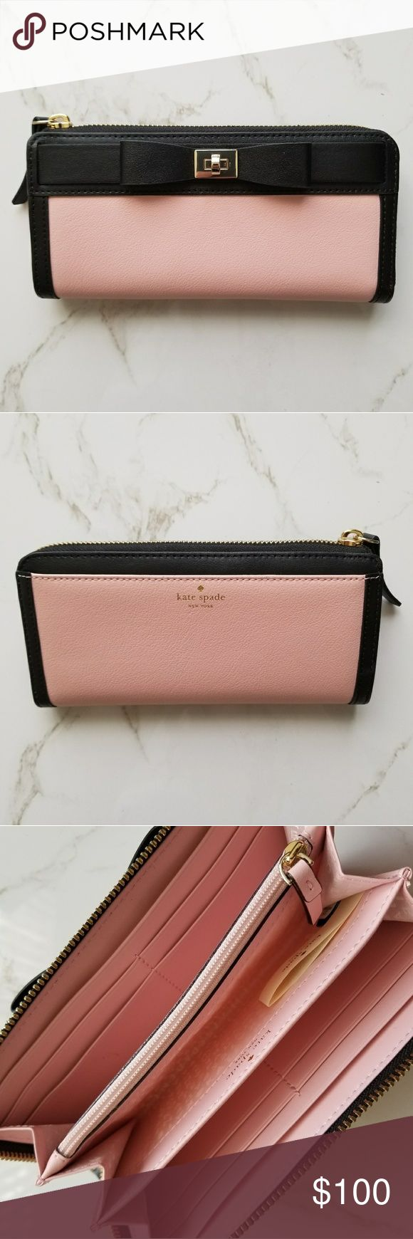 *BLCK FRI SALE*Pink Kate Spade Wallet Pink and Black Kate Spade Wallet with black bow Brand new, perfect condition, and has never been used with care card included kate spade Bags Wallets