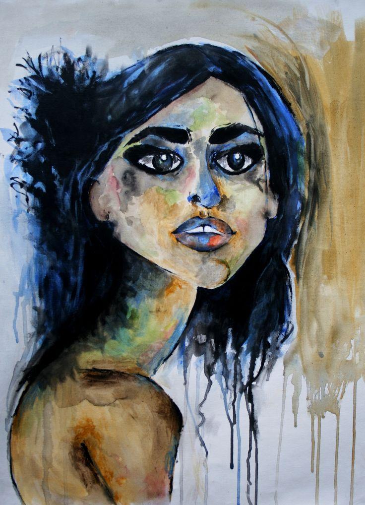 """""""Blue"""" by Lily Rusu Acrylic on canvas; 50 cm x 70 cm; 2014.  www.studentartworks.org"""
