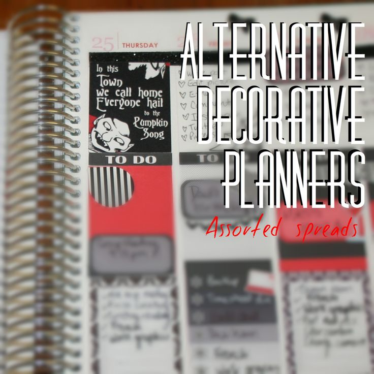 The Everyday Goth: Alternative Decorative Planners: Assorted Spreads