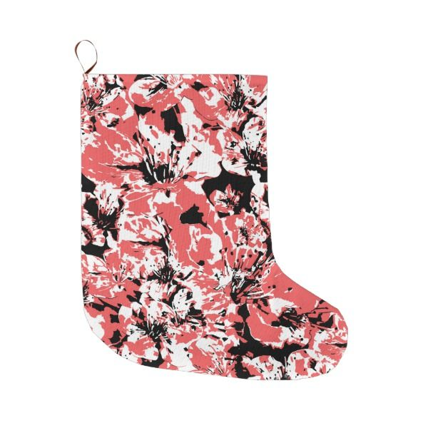 Textured Floral Collage Large Christmas Stocking #stocking #christmas #sock #xmas
