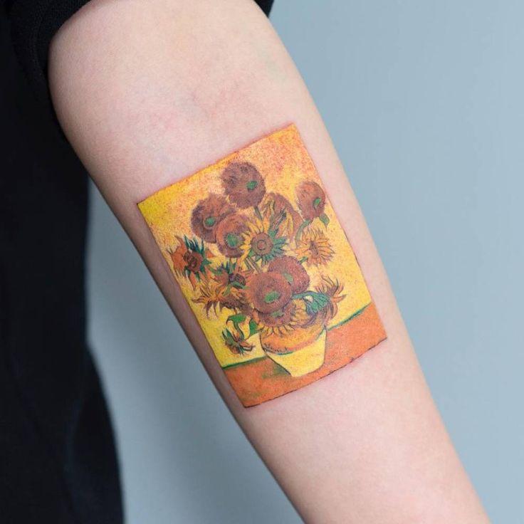 Vincent van Gogh's Sunflower series inspired tattoo.