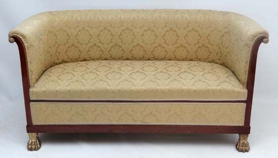 """Lot 159 - An early 19thC Empire silk upholstered mahogany and gilt 2 1/2 seat sofa with lions paw feet etc . 33"""" high x approx 65"""" wide #Sofa #Mahogany"""