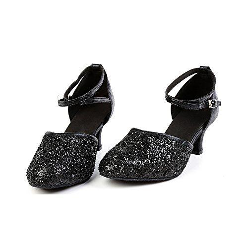 0f9b1f7fa0fa3 OCHENTA Womens Sequined Leather Pointed Toe Kitten Heel Latin ...
