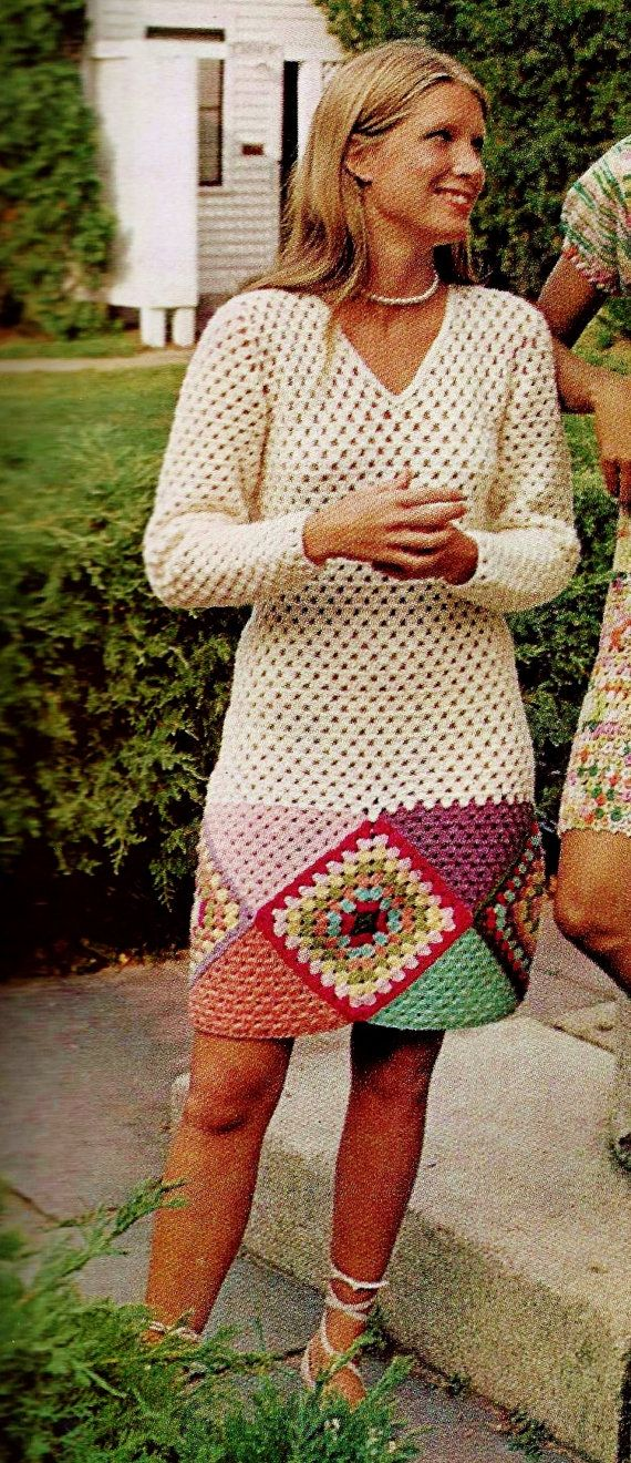 "Lovely retro boho style granny dress is graceful in its lines using careful shaping throughout. Large granny squares and triangles make up the hemline below a lovely solid colored, long sleeved V-neck dress.  SIZES: Directions are for size Small. Changes for Medium and Large are made by changing size of crochet hook. FINISHED MEASUREMENTS: Bust: 36 (38-40)""; Lower edge of skirt: 36 (38-40)""; Sleeve at upperarm : 12 (13-14)""  MATERIALS: Knitting worsted weight yarn; (4 oz skeins) Crochet hook…"