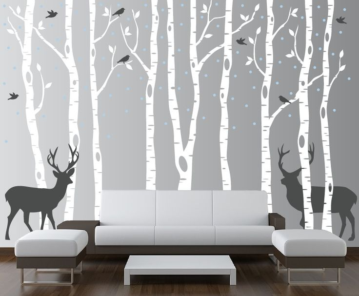 InnovativeStencils - Birch Tree Winter Forest Set Vinyl Wall Decal