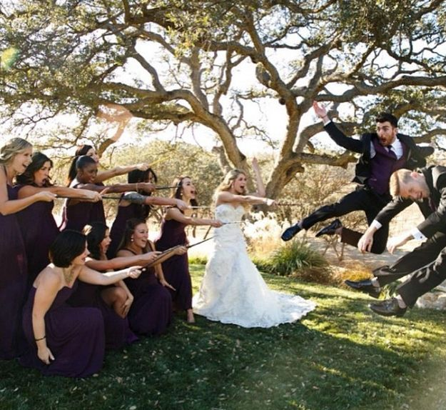 """The bridesmaids went all Harry Potter with wands. 