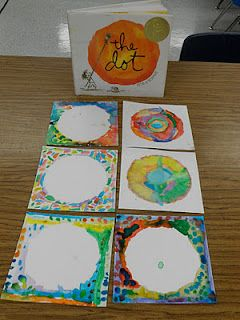 """As a kinder and 1st project we read the book The Dot.  A cute story about a little girl who discovers art  through a simple series of dot paintings.  The students were able to paint their own dot, or not-a-dot, with watercolors.  This was a nice simple opportunity for students to use paints and learn the expectations for using watercolors.  Ask them why brushes don't like bad hair days!"""