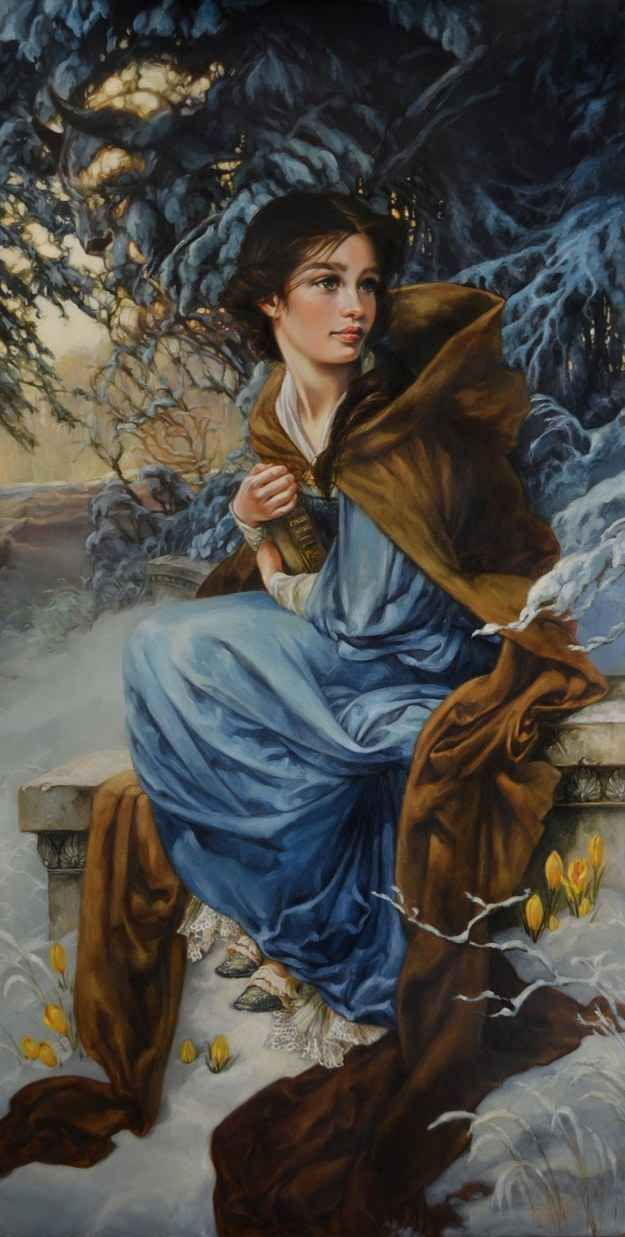 """""""Love Blooms in Winter"""" - Belle, Beauty and the Beast   6 Gorgeous Disney Ladies As If They Were Oil Portraits"""