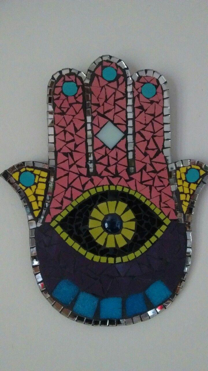 Mano de Fatima, mosaico, venecitas y espejosArte Badii