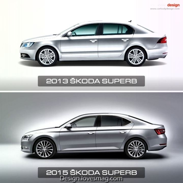 Skoda Superb Konzept Vergleich 20und 2019 Seitenansicht Skoda
