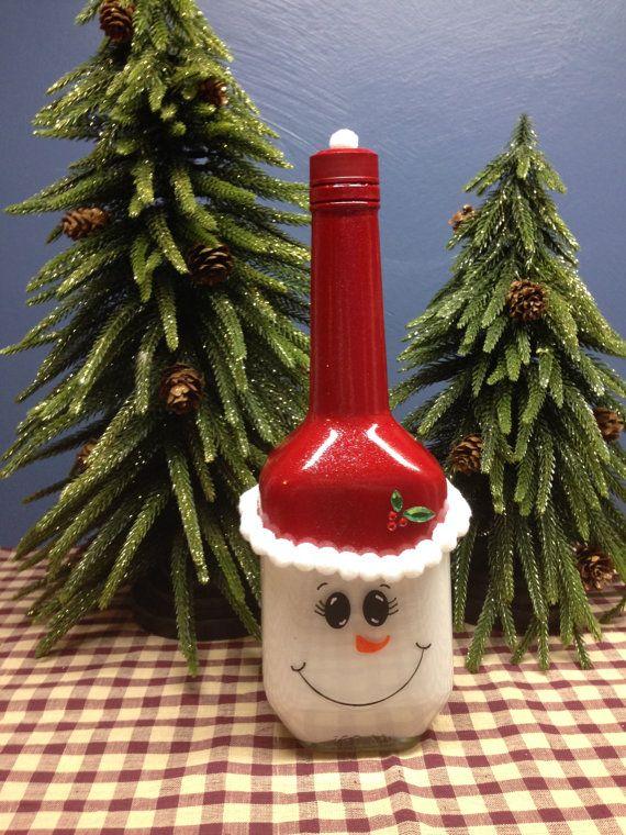 Santa Snowman Wine Bottle by DragonflysCorner on Etsy