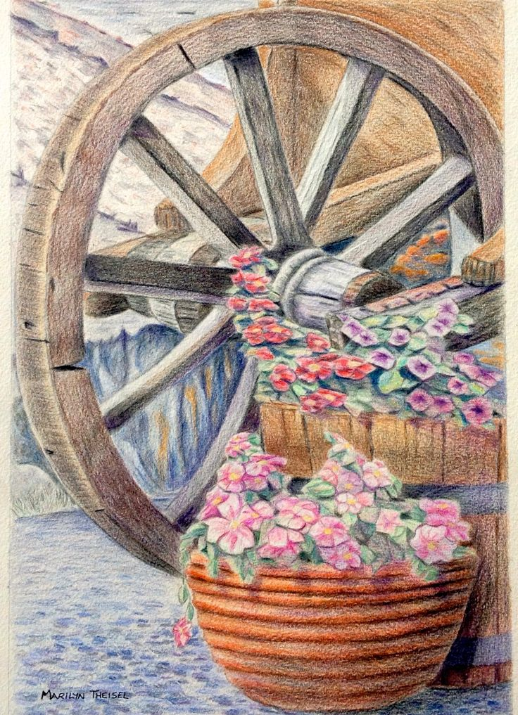 Wheel and pot plants, using Derwent Pencils No 19, for ArtTutor. Very first serious pencil work.