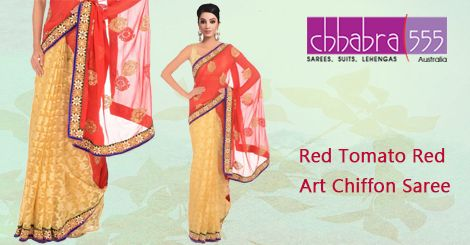 Visit Chhabra555 online store and select Red Tomato Red Art Chiffon Saree @ $76.95 AUD in Australia. For Bulk orders at special prices write to us at customercare@chhabra555com.au or call us at 1800 289 555