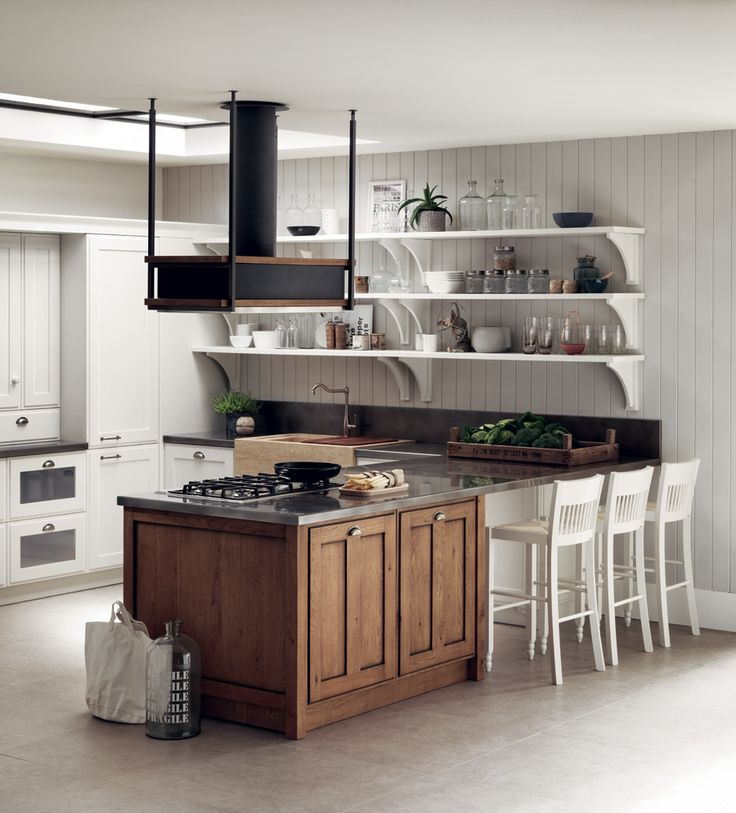 Elegant and essential elements; all the necessary work tools are in full view on the practical Prestige White matt lacquered shelves which match the delightful shelf brackets. Shabby chic kitchen ideas.