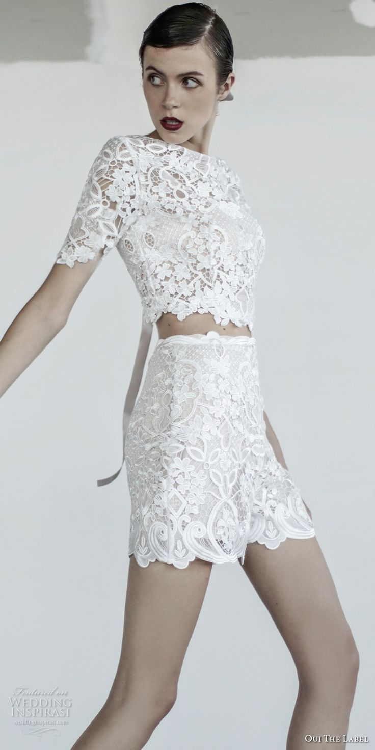 oui the label 2017 bridal short sleeves jewel neck heavily embellished bodice crop top 2 piece romantic shorts wedding dress covered lace back (10) mv -- OUI The Label 2017 Wedding Dresses