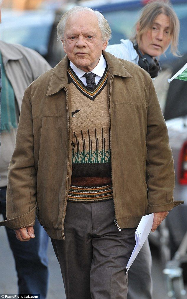 On set: David Jason, 75, looked as though he had settled right back into his role of hapless shop worker Granville on the newly rebooted Open All Hours