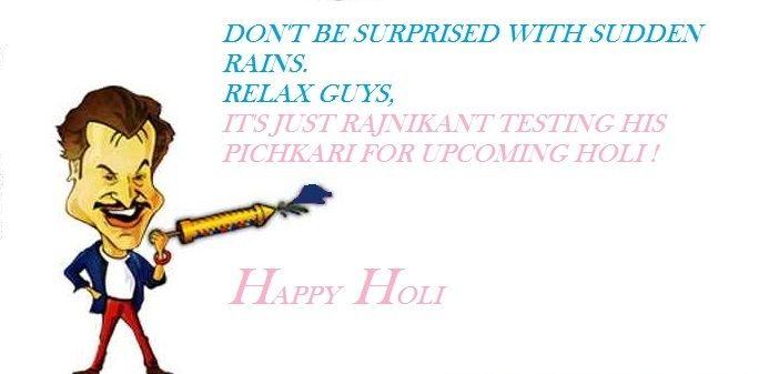 Rajnikanth playing Holi