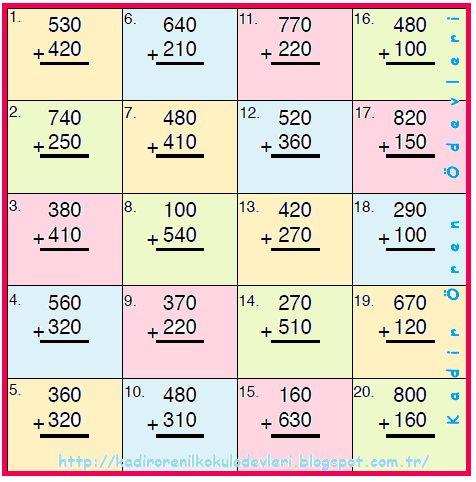 ilkokul ödevleri: 3. sınıf zihinden toplama