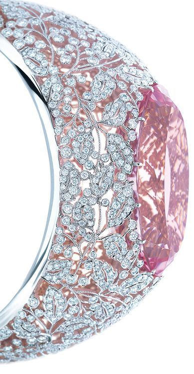 Tiffany & Co. diamond and morganite bracelet in platinum and rose gold, featuring an exceptional 74.63-carat morganite. From the 2013 Tiffany Blue Book Collection. Via Diamonds in the Library.